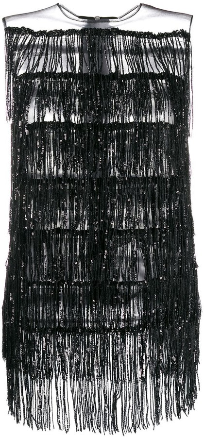 Halpern fringed sleeveless top