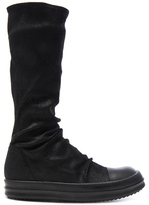 Rick Owens Leather Sock Sneaks in Black.
