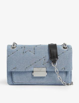 Zadig & Voltaire Ziggy Denim embellished shoulder bag