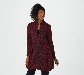 Truth + Style Regular Jacquard Knit Zip-Front Tunic w/ Funnel Neck