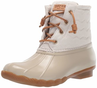 Sperry Women's Saltwater Chevron Quilt Nylon Ivory Boots
