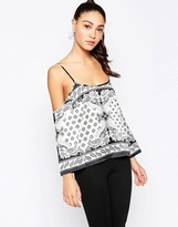 Daisy Street Cold Shoulder Top In Scarf Print