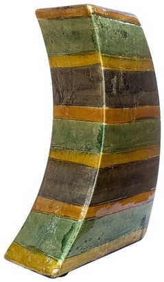 HomeRoots Contemporary Orange Green Amber Brown Ceramic Lacquer Stripe Leaning Vase