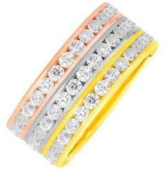 Lord & Taylor 14K Tri-Tone Sterling Silver and Crystal Eternity Stackable Rings
