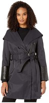 Via Spiga Oversized Hooded Shawl Collar Woven Lightweight Raincoat with Faux Leather Detail (Navy) Women's Coat