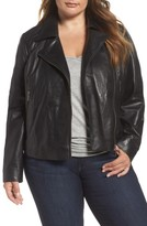 Halogen Plus Size Women's Leather Moto Jacket