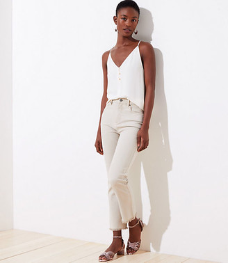 LOFT Petite Slim Pocket High Waist Straight Crop Jeans in Soft Oyster