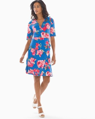 Soma Intimates Multifloral Short Sleeve Wrap Dress