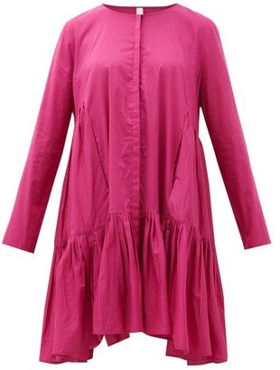 Merlette New York Martel Tiered Cotton-poplin Dress - Dark Pink