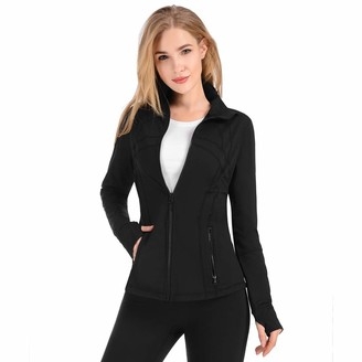 qualidyne Yoga Jacket Run Jacket Women Lightweight Comfy Athletic Workout Zip Running Track Jacket Black