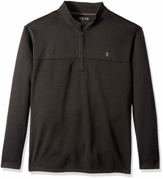 Izod Men's Big Golf Hydra Shield Quarter Zip Stripe Pullover