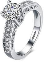 Qiandi Luxury Zircon Four Claw Round Wedding Rings for Women Girls Engagement Jewelry