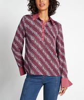 ModCloth Women's Blouses - Burgundy Floral Stripe French-Cuff Button-Front Top - Women, Juniors & Plus