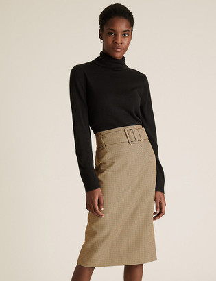 Marks and Spencer Checked Belted Knee Length Pencil Skirt
