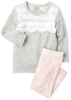 Jessica Simpson Infant Girls) Two-Piece Lace Front Terry Knit Top & Printed Leggings Set