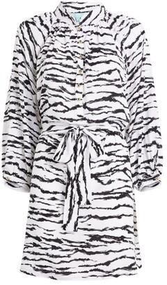 Melissa Odabash Tiger Print Shirt Dress
