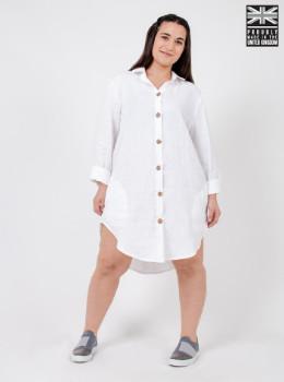 Zola Amour - White Linen Shirt Dress - linen | white | small (uk8-uk12) - White/White