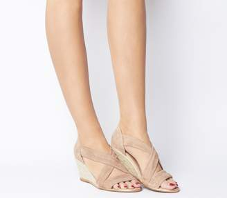 Office Maiden Cross Strap Wedges Nude Suede With Rose Gold Rand