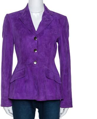Ralph Lauren Empire Purple Classic Suede Riding Jacket M