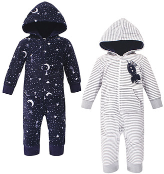 Yoga Sprout Boys' Coveralls Spaceship - Black Star & Gray Stripe Spaceship Fleece Hooded Playsuit Set - Newborn & Infant