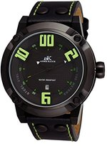 Adee Kaye Men's AK7281-MIPB/GN Analog Display Japanese Quartz Black Watch
