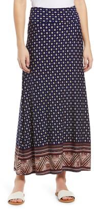 Loveappella Border Print Roll Top Maxi Skirt