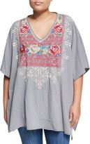 Johnny Was Embroidered Pocket Poncho, Gray, Plus Size