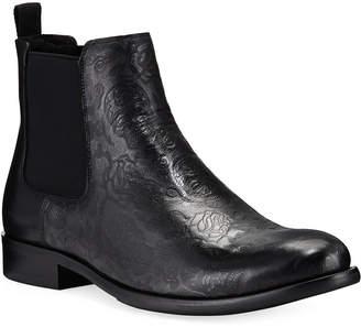 Robert Graham Men's Dawson Skull & Roses Leather Chelsea Boots