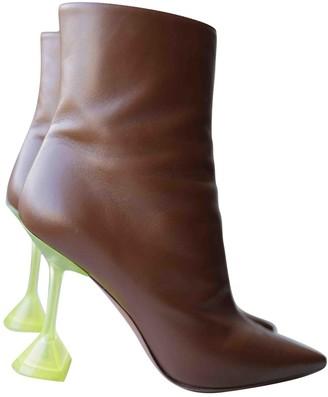Amina Muaddi Brown Leather Boots