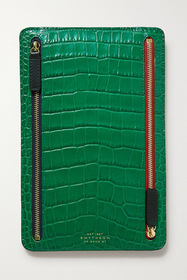 Smythson Mara Croc-effect Leather Wallet - Forest green