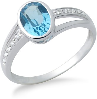 Miore Blue Topaz Ring 9ct White Gold