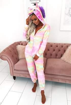 Pink Boutique Over The Rainbow Multicolour Unicorn Fleece Onesie