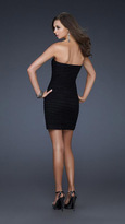 La Femme Bead Embellished Pleated Sweetheart Sheath Dress 16944