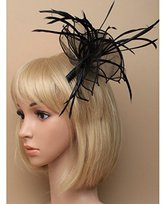 Inca Black Fascinator on Headband/ Clip-in for Weddings, Races and Occasions-8319