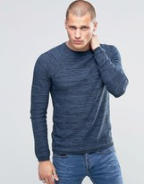 Blend of America Crew Slim Knit Sweater Stripe Melange Navy