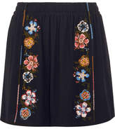 Chloé Embroidered Crepe Mini Skirt - Navy