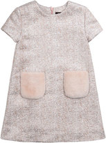 Imoga Tweed Dress with Faux Fur Pockets, Pink, Size 8-14
