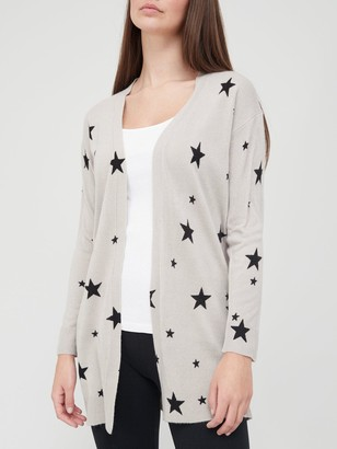 Very Super Soft Star Print Longline Knitted Cardigan - Grey/Black