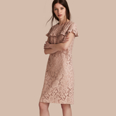 Burberry Mid-length Lace Shift Dress with Ruffle Detail