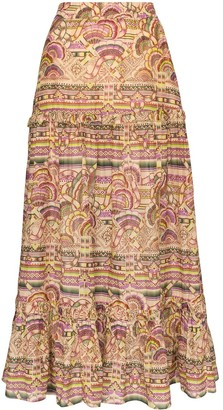 CHUFY Nina printed cotton and silk maxi skirt
