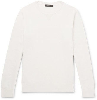 Ermenegildo Zegna Suede-Trimmed Waffle-Knit Cashmere And Cotton-Blend Sweatshirt