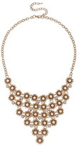 Women's Metal Flower Necklace with Plastic Pearls - Gold
