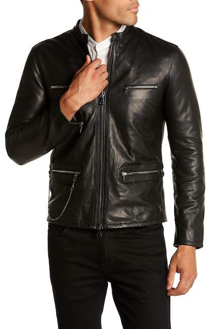 John Varvatos Collection Zip Pocket Leather Jacket