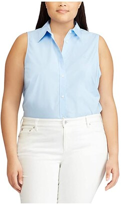 Lauren Ralph Lauren Plus Size No-Iron Sleeveless Shirt (Blue) Women's Clothing