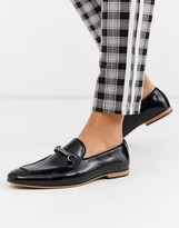 Asos Design DESIGN loafers in black faux leather with snaffle