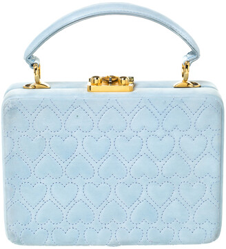 Escada Light Blue Nubuck Leather Box Top Handle Bag