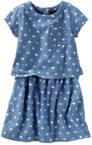 Osh Kosh Two-Tier Chambray Heart Print Dress