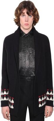 Saint Laurent Embellished Jacquard Wool Cardigan