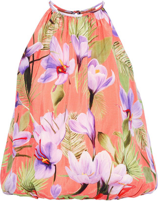 Alice + Olivia Gathered Floral-print Cupro Top
