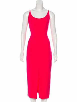 Christian Siriano Sleeveless Midi Dress Fuchsia